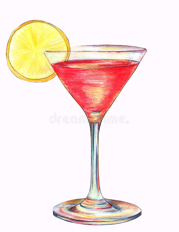Hand drawn illustration of an alcoholic cocktail cosmopolitan with slice of lemon in colored pencils style royalty free stock photography