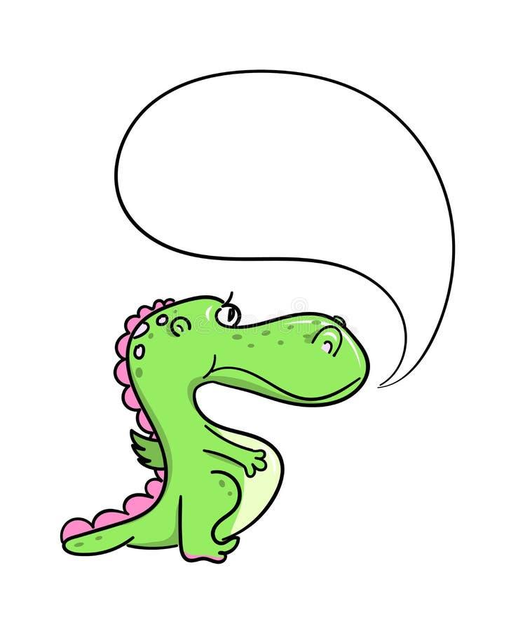 Cute cartoon green dragon with speech bubble. vector illustration