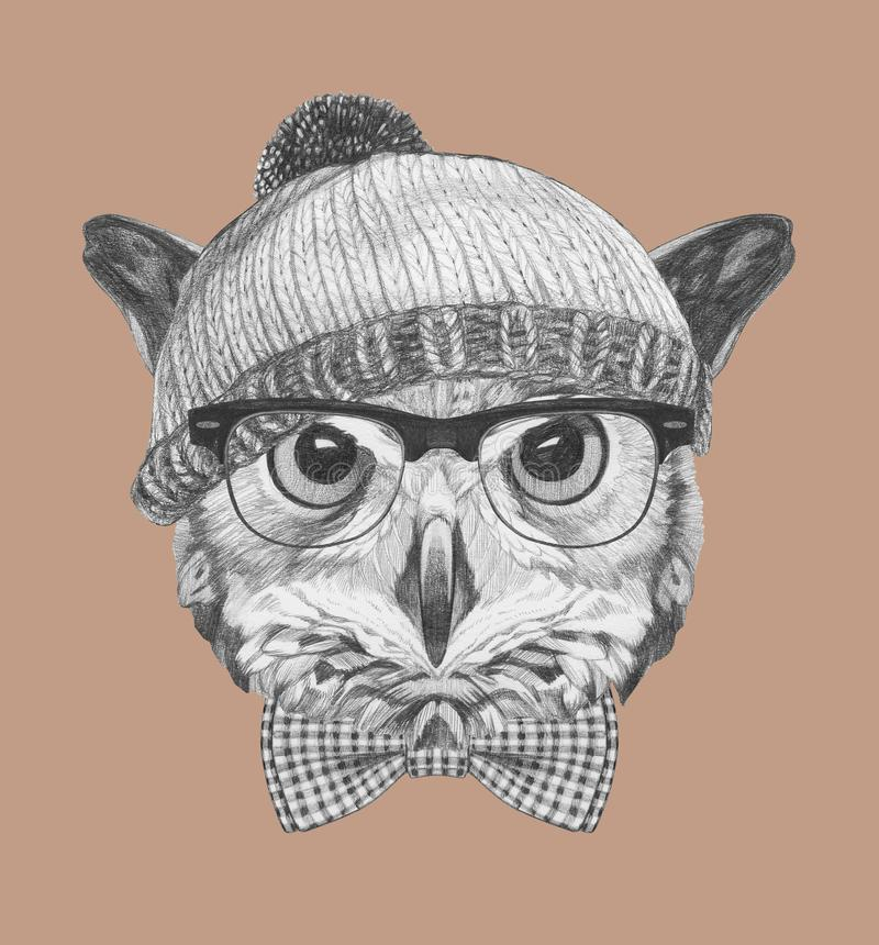 Portrait of Hipster, portrait of Owl with sunglasses, hat and bow tie, hand-drawn illustration. Hand drawn illustration of animal stock illustration
