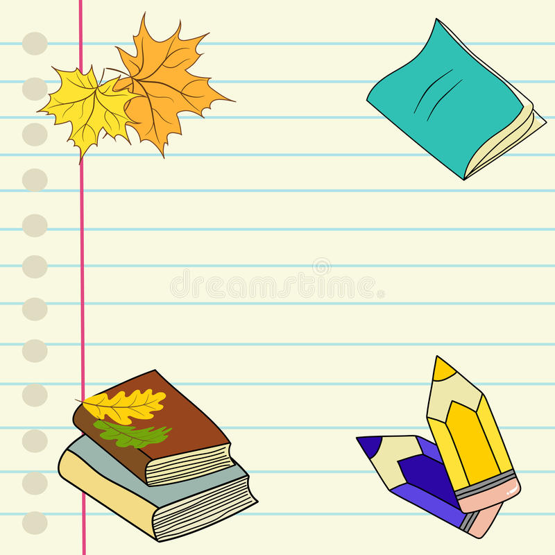 Hand drawn illustration back to school lined notebook page colored pencils pile of books maple oak leaves boarder vector illustration