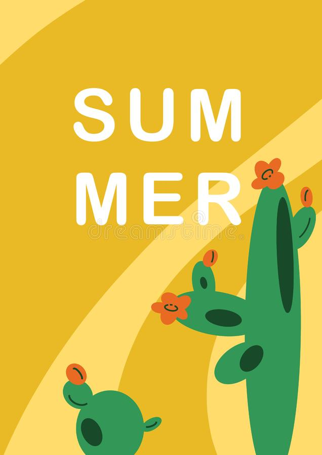 Hand-drawn illustration background with Mexican cactuses in flat cartoon style. vector illustration
