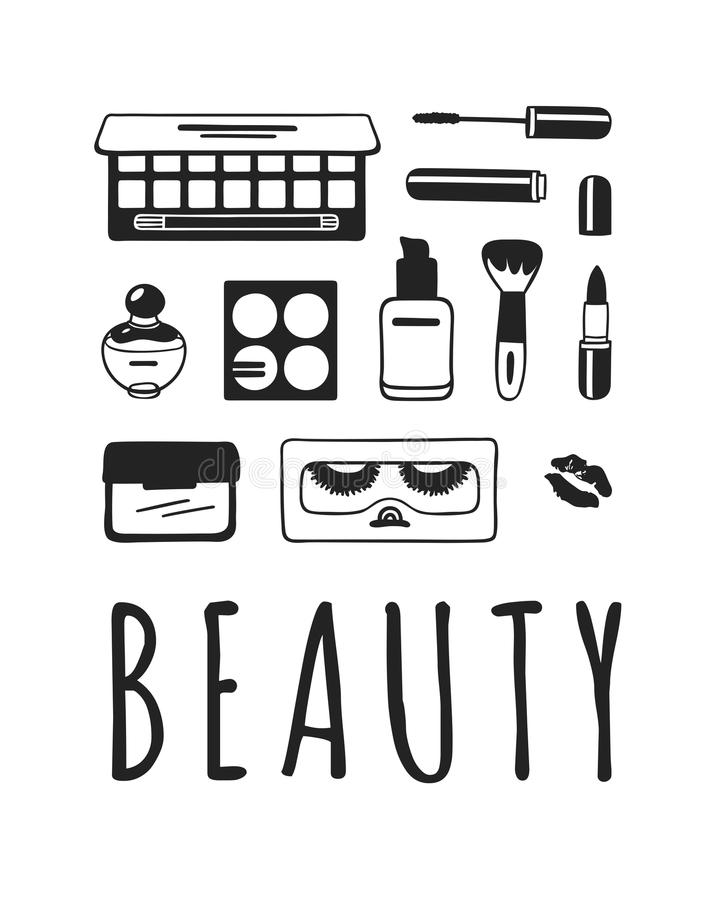 Hand drawn illustration beauty products . Creative ink art work. Actual vector makeup drawing stock illustration