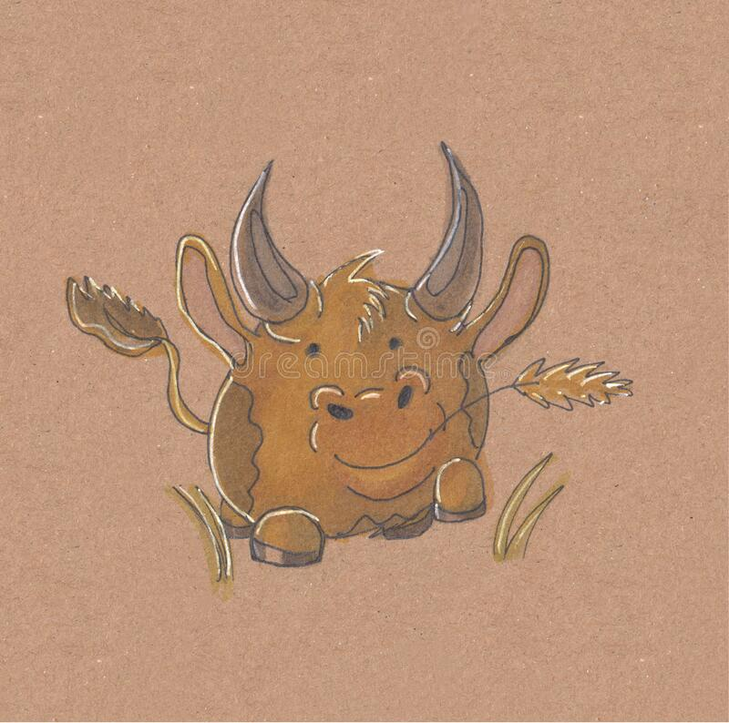 Hand drawn illustration The Bull in beautiful style. Cartoon characters. Bull in beautiful style. Cartoon characters. Design element royalty free illustration