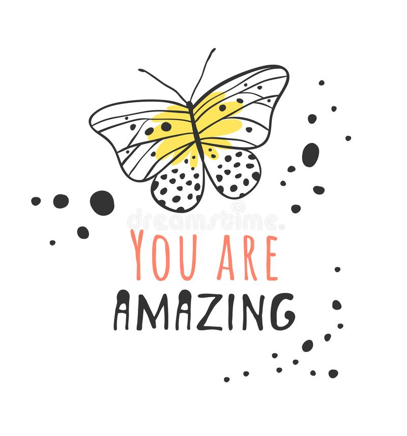 Hand drawn illustration butterfly and text. Positive quote NEVER GIVE UP for today and doodle style element. Creative ink art work royalty free illustration
