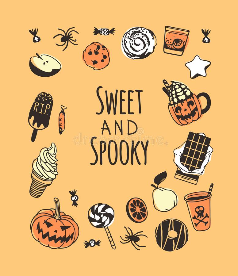 Hand drawn illustration candy and Quote. Creative ink art work. Actual vector drawing food and drink. Artistic isolated Halloween royalty free illustration