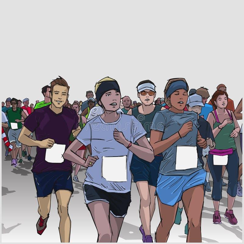 Hand drawn illustration of cheerful crowd running marathon with blank signs vector illustration
