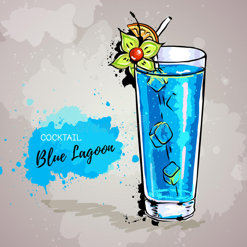 Hand drawn illustration of cocktail blue lagoon. Illustration of cocktail blue lagoon vector illustration