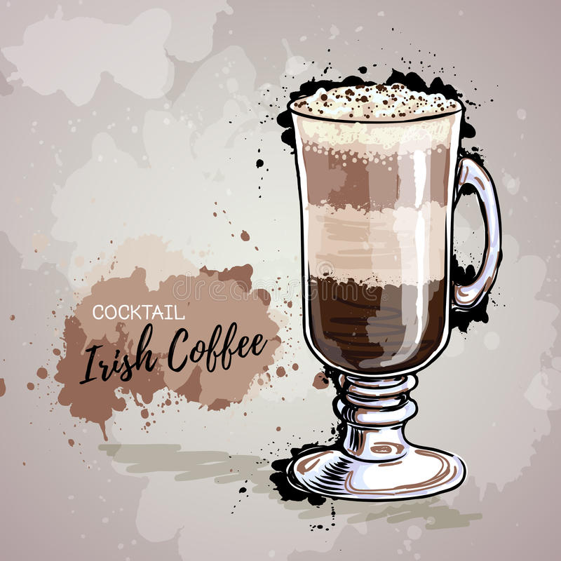 Hand drawn illustration of cocktail irish coffee. vector illustration