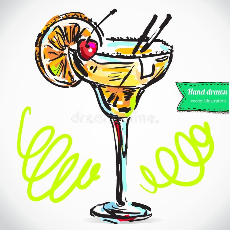 Hand drawn illustration of cocktail. royalty free illustration