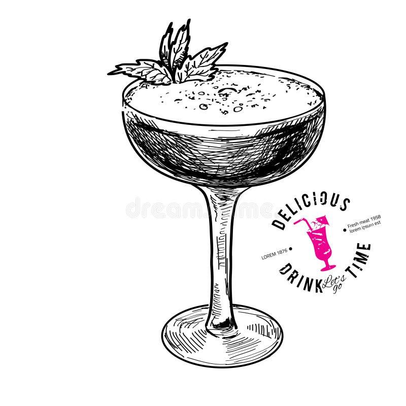 Hand drawn illustration of cocktail.. royalty free illustration