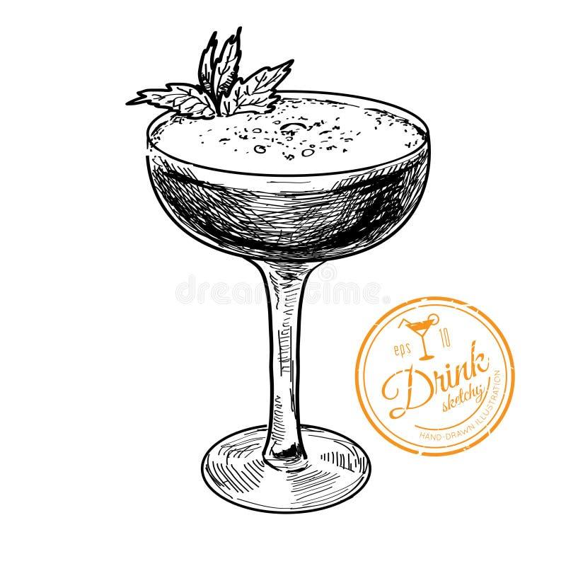Hand drawn illustration of cocktail.. vector illustration