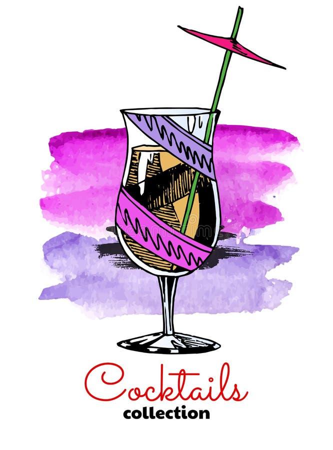 Hand drawn illustration of cocktail and watercolor splash. Vector color summer illustration. vector illustration