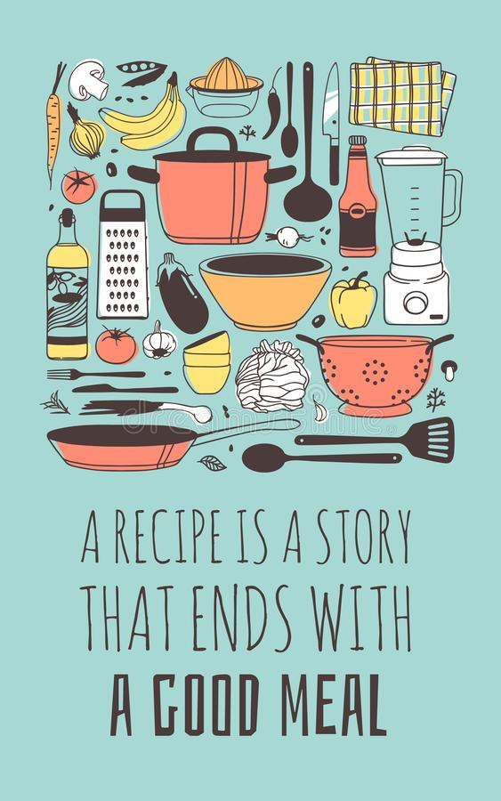Free Hand Drawn Illustration Cooking Tools, Dishes, Food And Quote. Creative Ink Art Work. Actual Vector Drawing. Kitchen Set And Text Royalty Free Stock Photo - 139733255