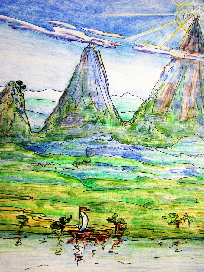 Hand-drawn illustration of a mountain, a green valley and a small boat with a white sail on the river water. Hand-drawn illustration with crayons and a black stock illustration