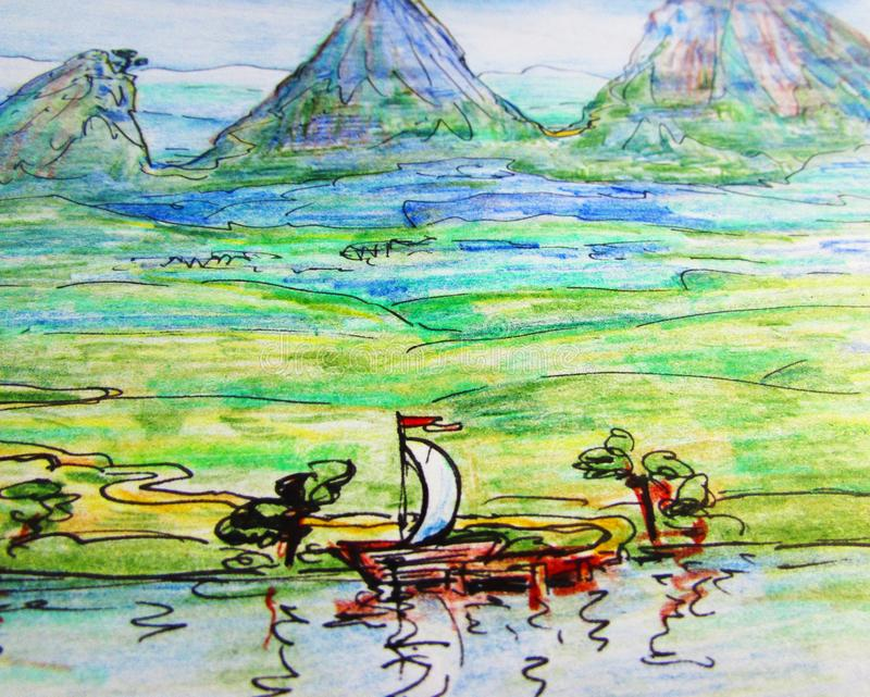 Hand-drawn illustration of a mountain, a green valley and a small boat with a white sail on the river water. Hand-drawn illustration with crayons and a black royalty free illustration