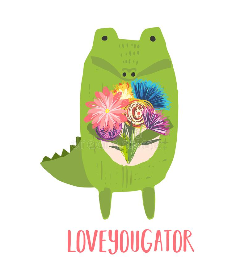Hand drawn illustration of crocodile with flowers vector illustration