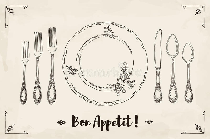 Hand drawn illustration of curly ornamental silver tableware, plate a beige watercolor background and texture. royalty free illustration