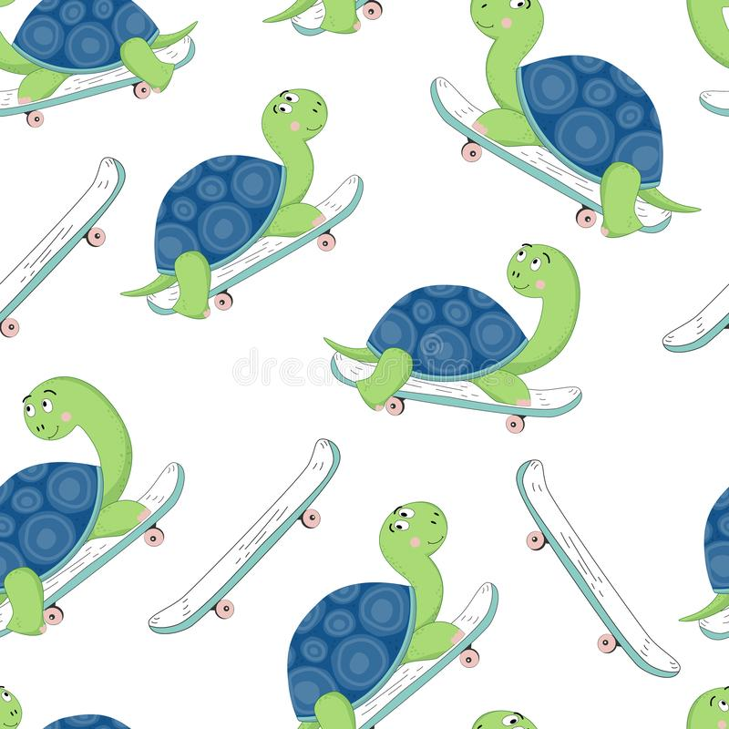 Hand drawn illustration of a cute turtle on a skateboard . Vector seamless pattern stock photos