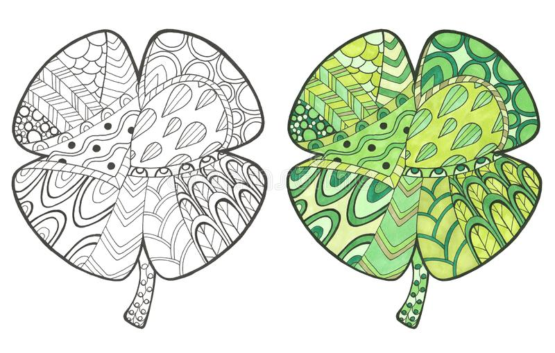 Hand drawn illustration with doodle and color clover stock illustration