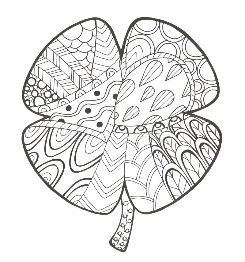 Hand drawn illustration with doodle and zen tangle clover royalty free illustration