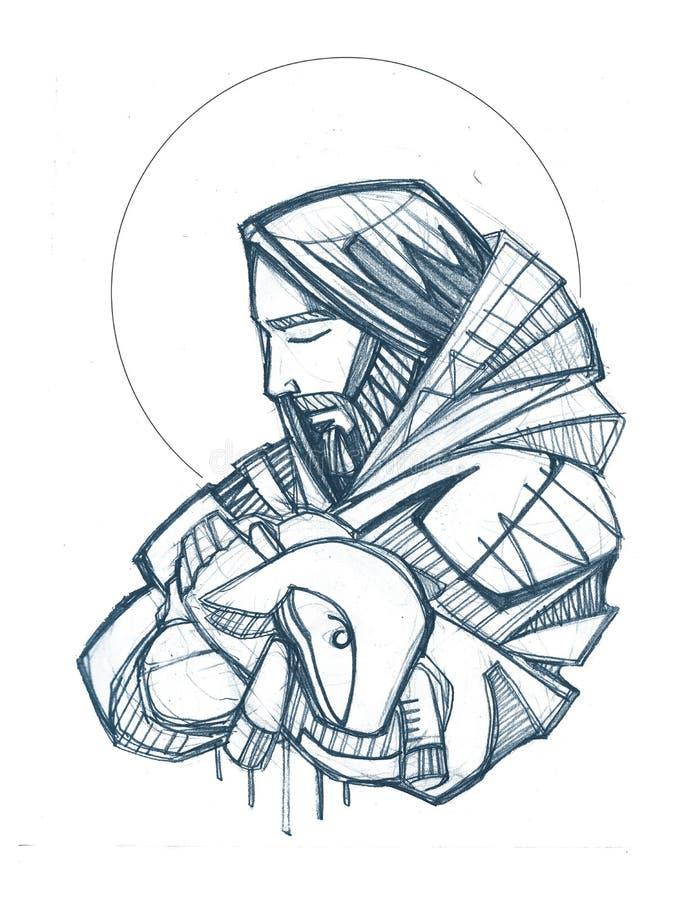 Jesus Christ Good Shepherd hand drawn illustration stock illustration