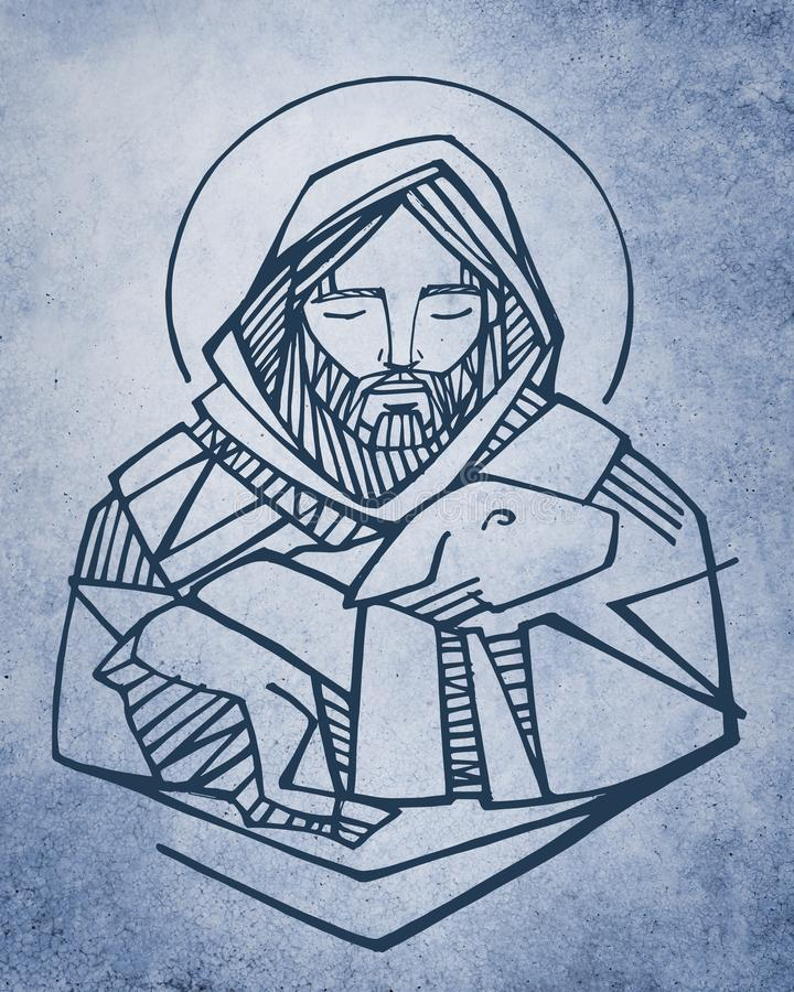 Jesus Christ Good Shepherd ink illustration. Hand drawn illustration or drawing of Jesus Christ Good Shepherd and sheep stock illustration