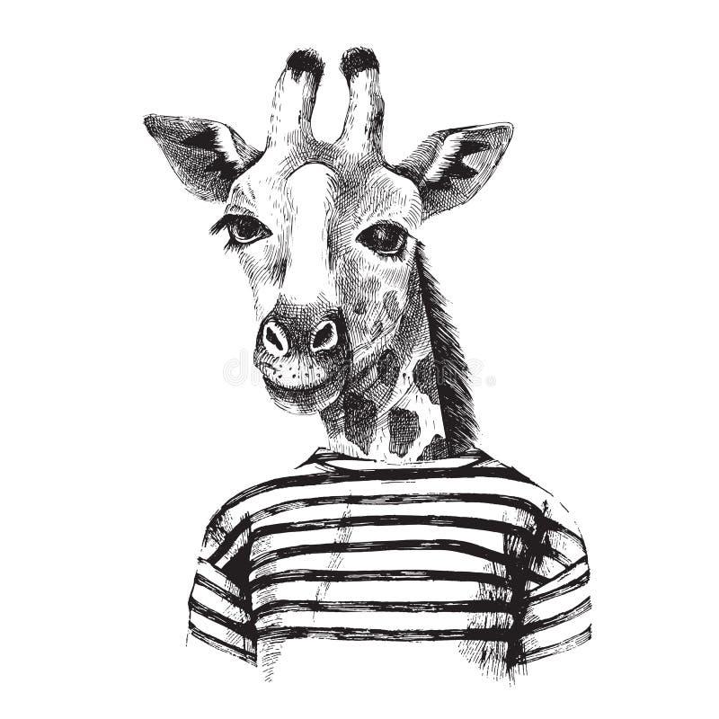 Hand drawn Illustration of giraffe hipster vector illustration