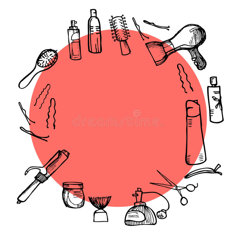 Hand drawn illustration - Hairdressing tools (scissors, combs, styling) royalty free illustration