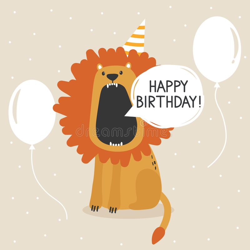 Colorful background, happy lion, air balloons, english text. Happy birthday! greeting card. Decorative cute backdrop with animal vector illustration