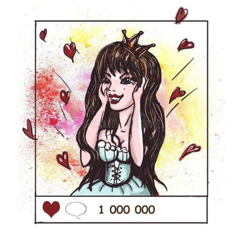 Hand drawn illustration. Instaqueen. Beautiful girl in social ne stock illustration