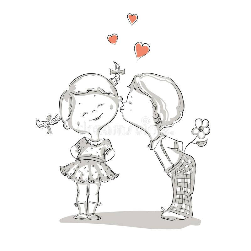 Hand drawn Illustration of kissing boy and girl. This is file of EPS8 format stock illustration