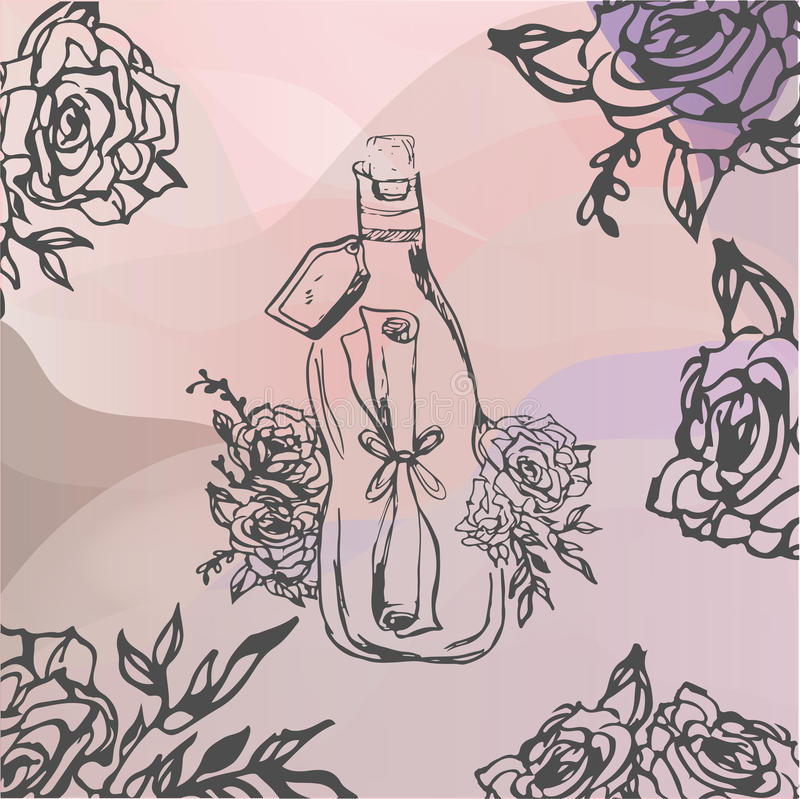 Hand drawn illustration.letter wrapped in bottle. Tattoo, stock photography