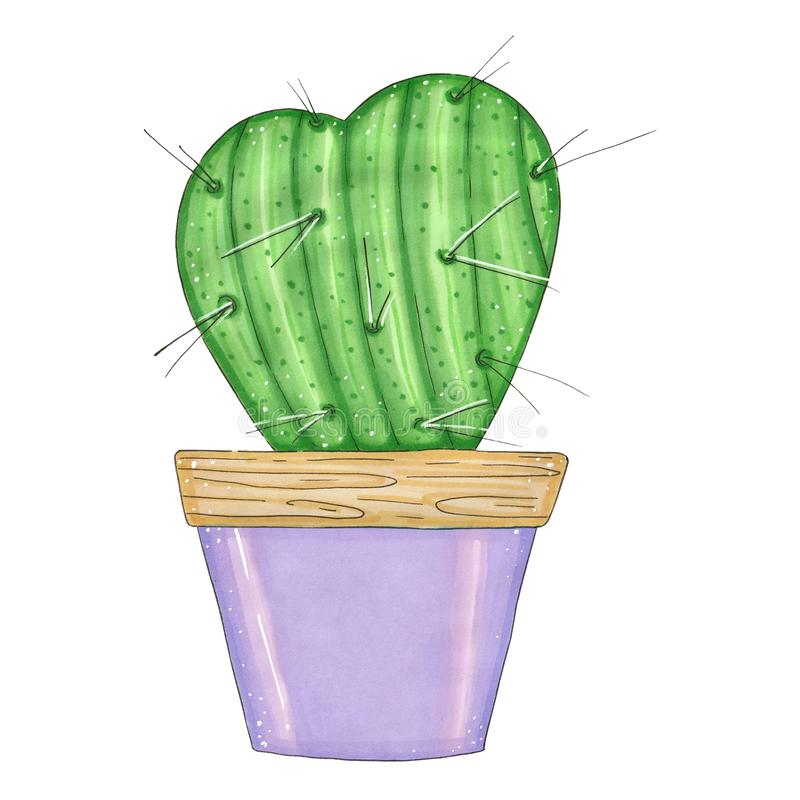 Hand drawn illustration with green cactus stock photo