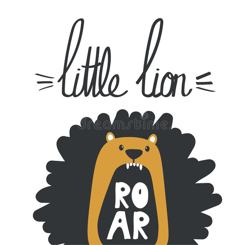 Colorful background, lion and english text. Decorative cute backdrop with animal, Little lion royalty free illustration