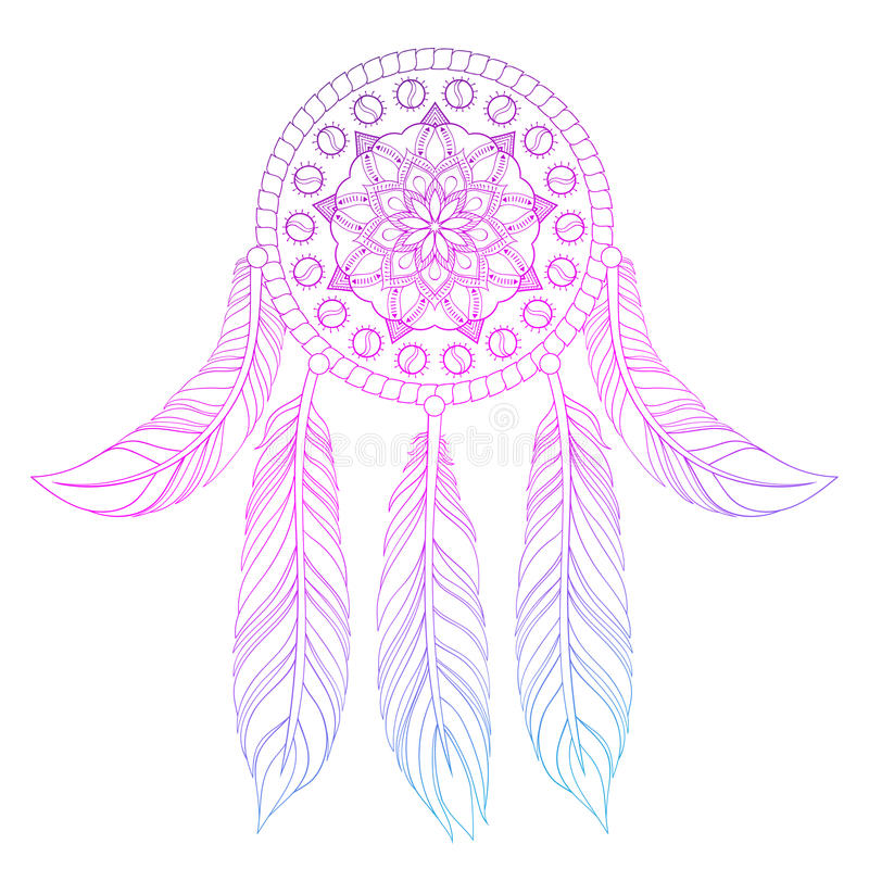 Free Hand Drawn Illustration Of Ethnic Pink Dream Catcher In Zentangle Style, Native American Symbol For Greeting Stock Image - 85911751