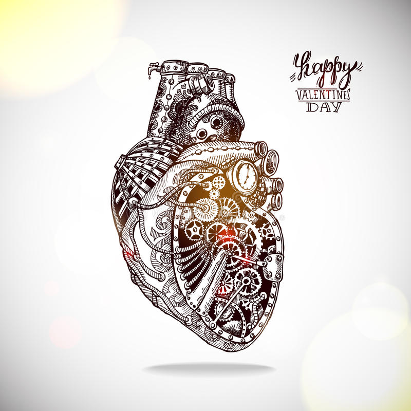 Free Hand Drawn Illustration Of Mechanical Heart Stock Photo - 49294770