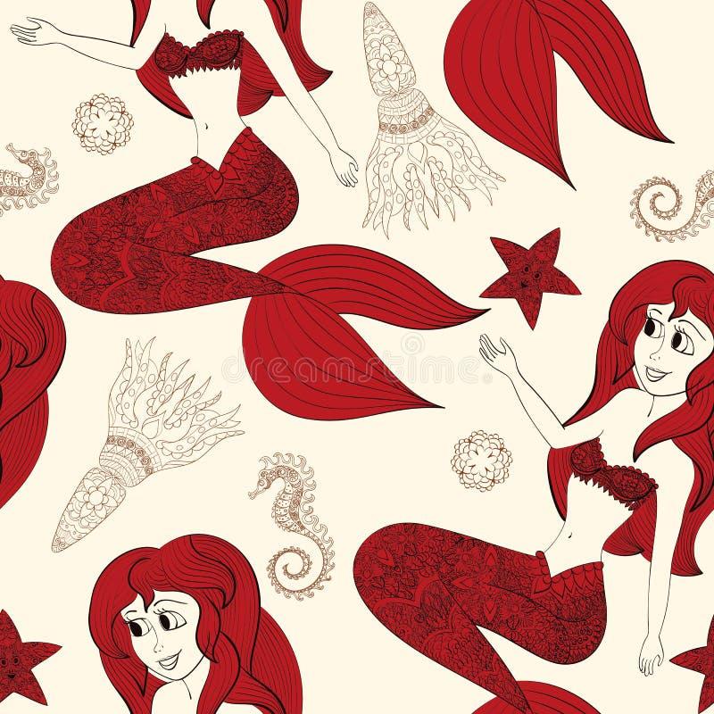 Hand drawn illustration of Ornamental Mermaid. Shaped Mermaid. Seamless pattern with mermaid. Hand drawn Ornamental Mermaid. Fairy-tale character of mermaid stock illustration