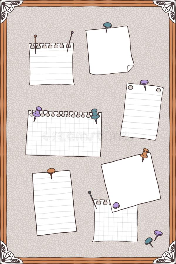 Hand drawn illustration of pin board with pins and empty note papers stock illustration