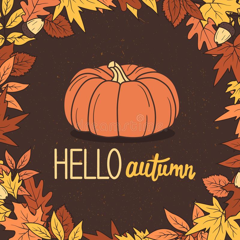 Colorful background with pumpkin, leaves, acorns and english text. Hello, autumn. Decorative backdrop vector illustration