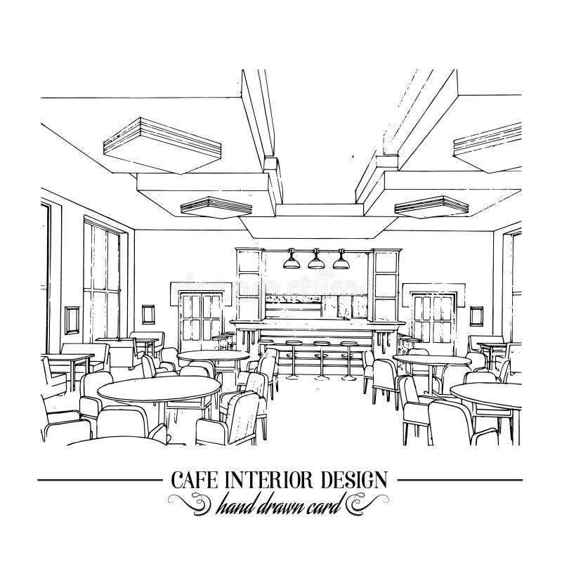 Hand drawn illustration of restaurant interior design