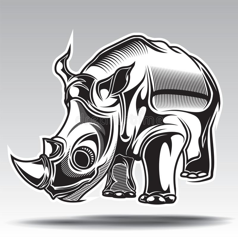 Hand drawn illustration of rhino with decorative elements stock photography