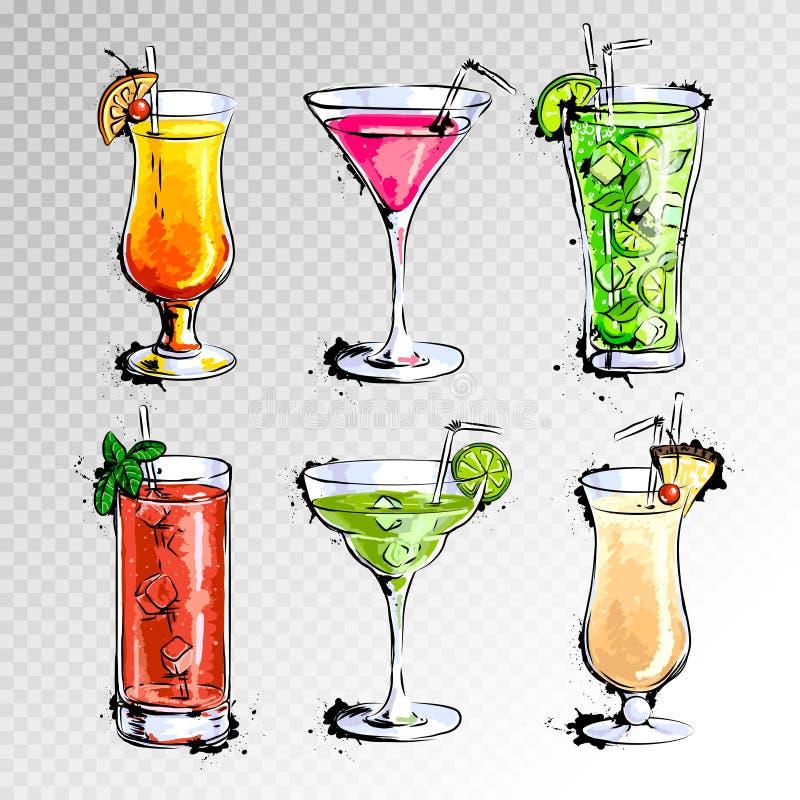 Hand drawn illustration of set of cocktails. Hand drawn illustration of set of artistic cocktails royalty free illustration