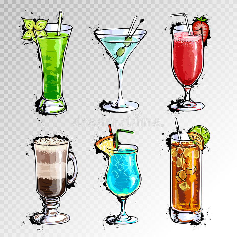 Hand drawn illustration of set of cocktails. Hand drawn illustration of set of artistic cocktails vector illustration