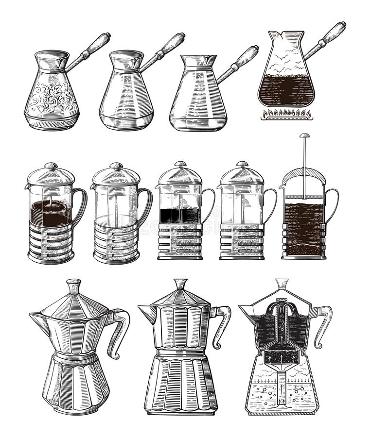 Hand drawn illustration set of coffee preparation. Pour over brewer coffee kettle french press moka pot and cezve. vector illustration