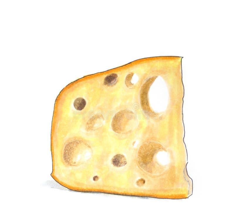 Hand drawn illustration. Slice of swiss cheese royalty free illustration