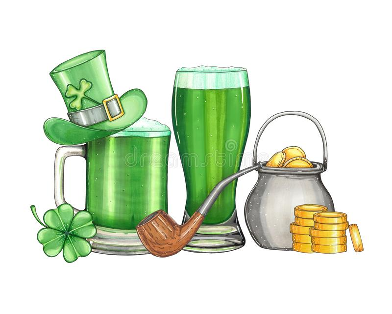 Hand drawn illustration by a St. Patrick`s Day vector illustration