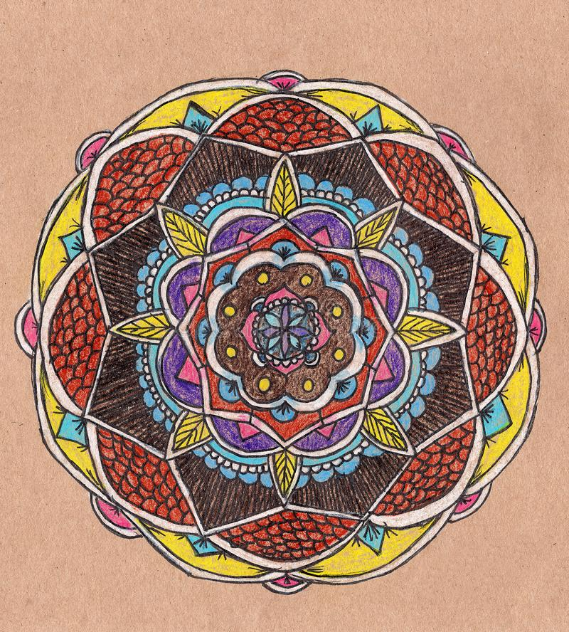 Hand drawn illustration with traditional oriental mandala. colorful doodles in zenart style. zentangle drawing with colored pencil. S on brown paper. Greeting stock image