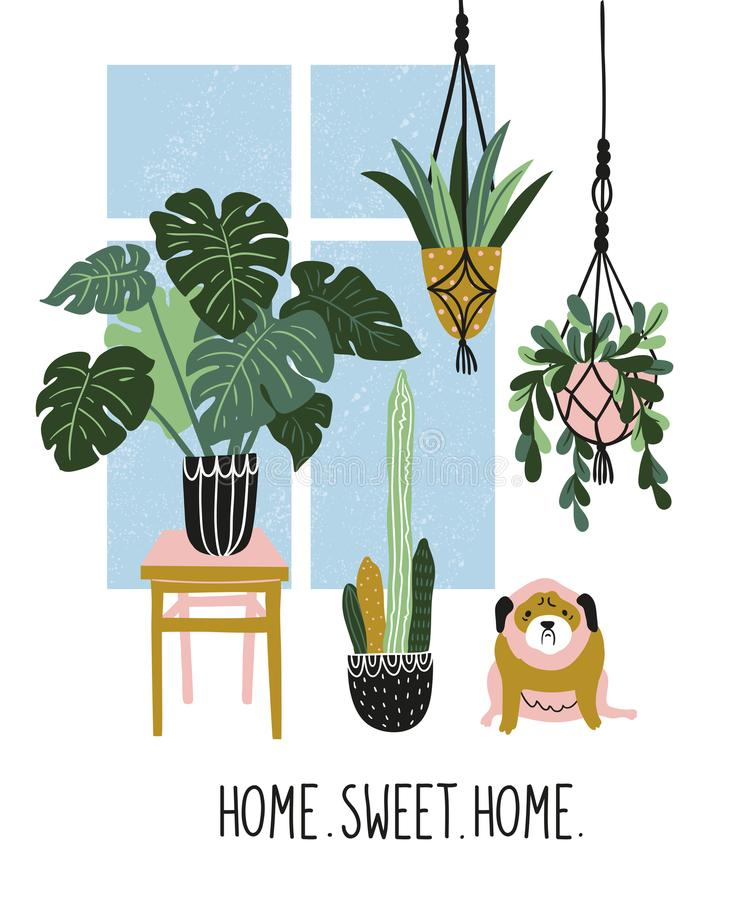 Hand drawn illustration with tropical house plants, window and cute dog. Vector poster design with text - `home sweet home`. stock illustration