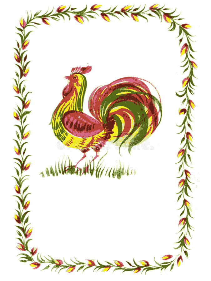 Download Rooster stock vector. Illustration of flower, drawn, texture - 29899568