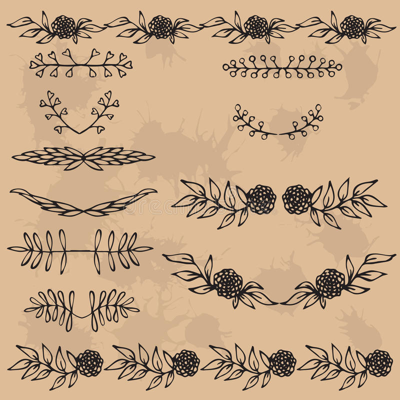 Hand Drawn Illustration Vintage Decorative Lovely Set Of Floral ...